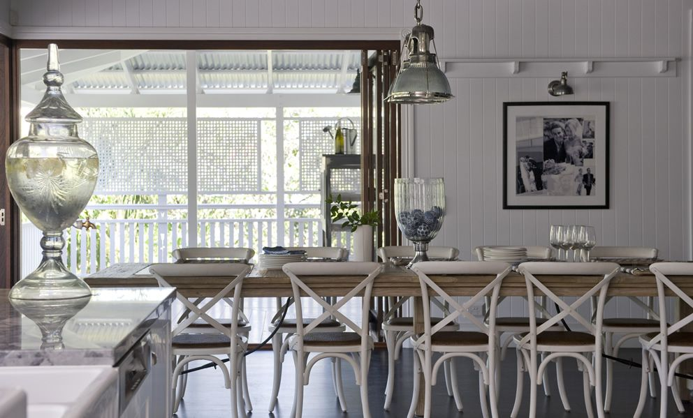 Coastal Dining Room With Nautical Lights