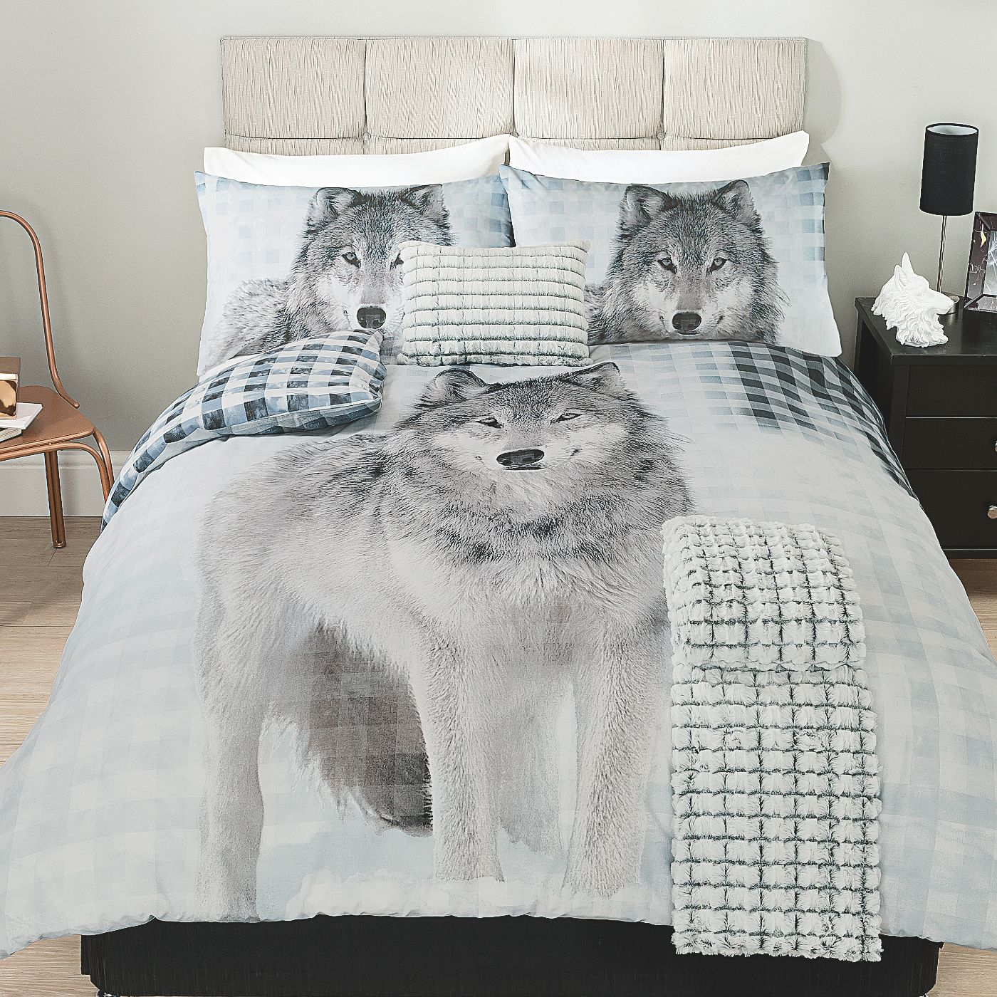 George Home Wolf Check Duvet Set Bedding Asda Direct