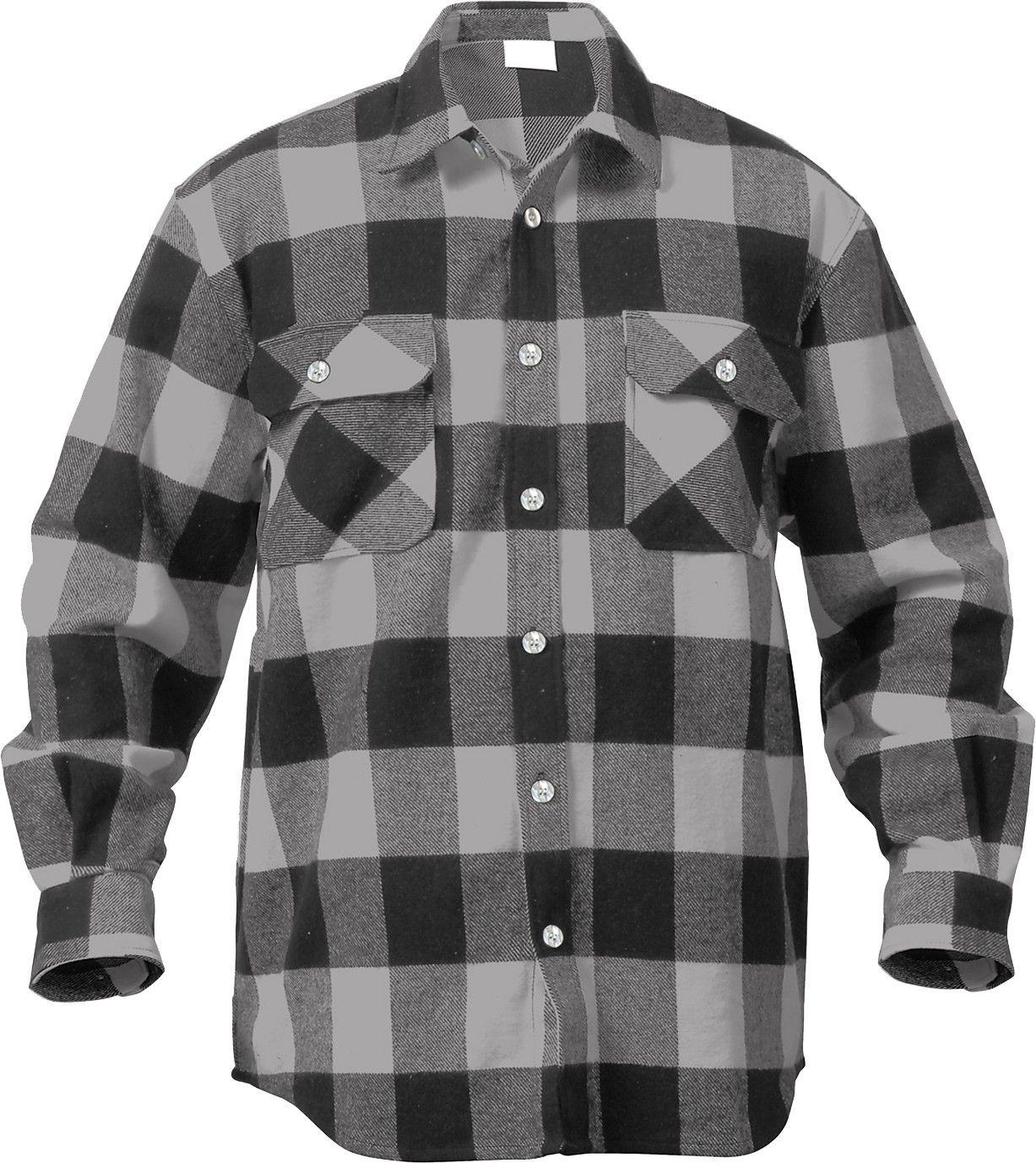 Flannel jackets with hood  Grey Extra Heavyweight Brawny Buffalo Plaid Flannel Shirt