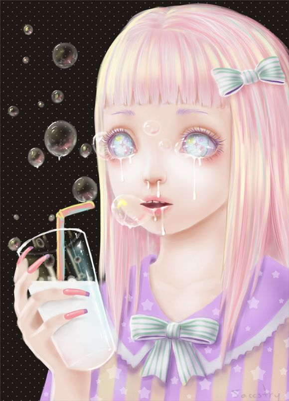 Cute creepy art by saccstry a pinterest for Mirror zombie girl