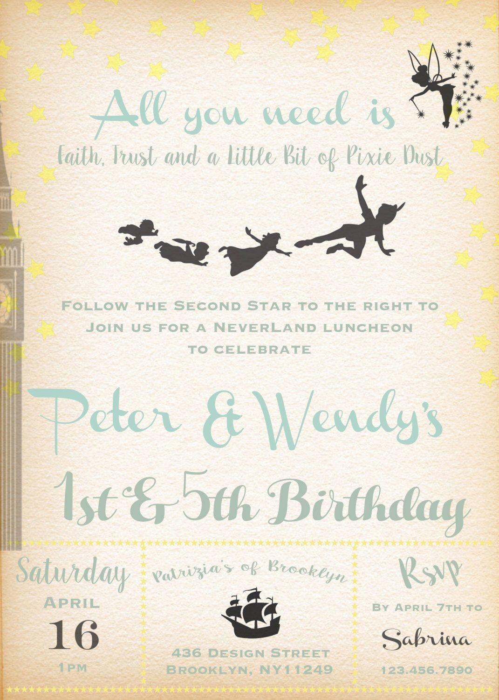 Printable-Birthday-Boy-Girl-Invitation-Peter Pan-Tinkerbell ...