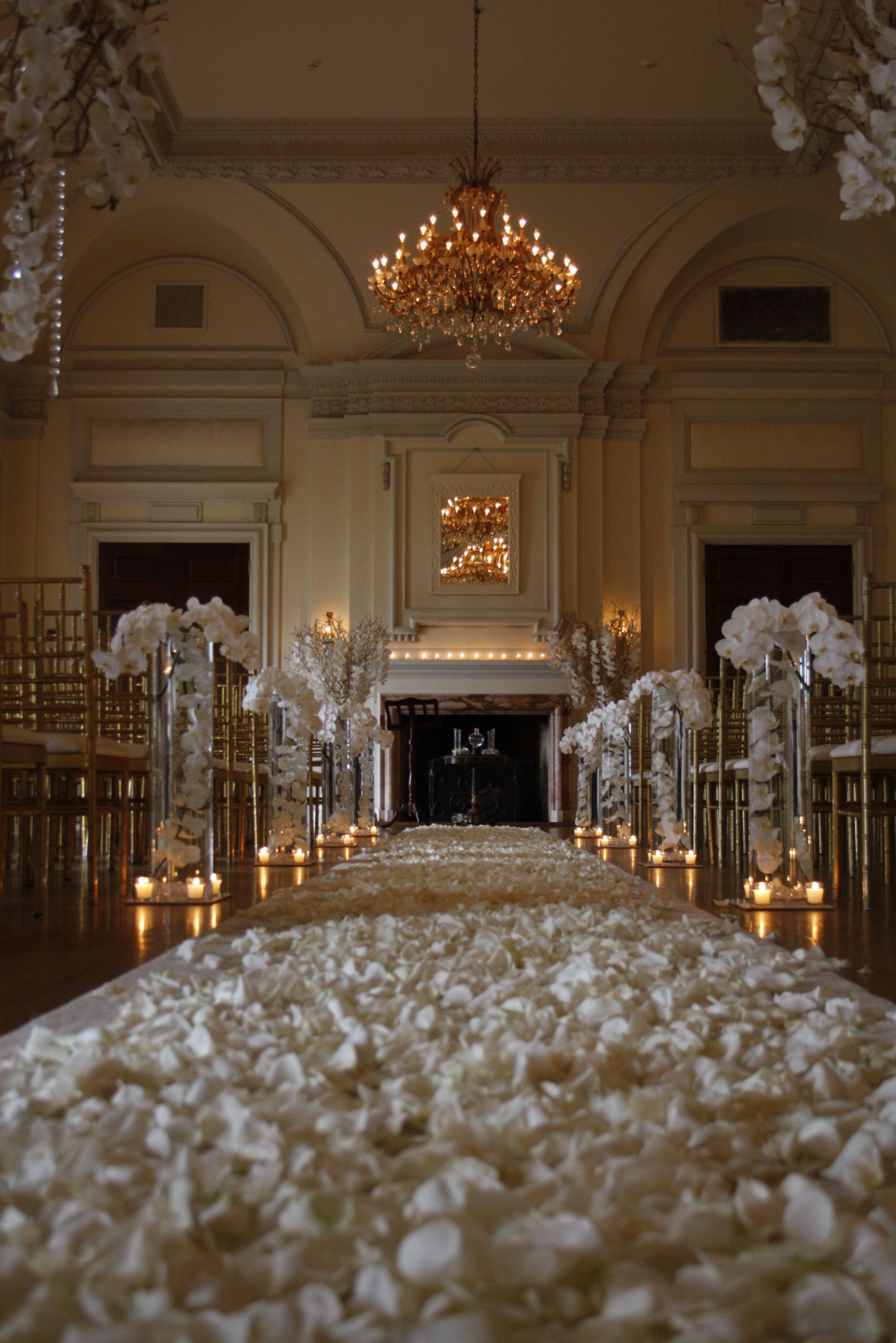 Indoor Ceremony At Oheka Castle By James Anthony Floral Indoor Ceremony Indoor Flowers Ceremony Flowers
