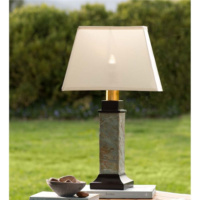 Outdoor Slate Table Lamp With Removable Battery Operated