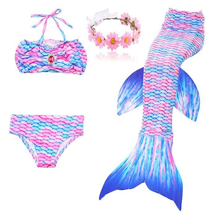 Filles Queue de Sir/ène Maillot de Bain /Ét/é Enfant Bikini Swimwear Mermaid Cosplay Costume 3 Pi/èces Ensembles