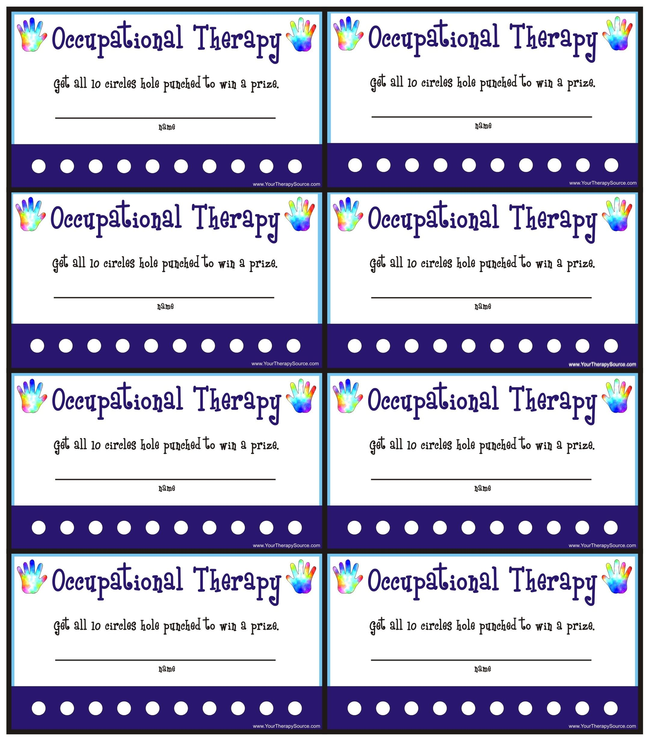 reward punch cards for ot pt your therapy source