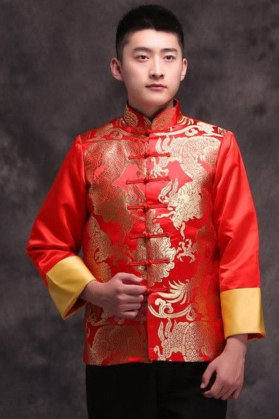 858c7c6f6 Traditional Red Chinese Groom Suit with Mandarin Collar & Gold Dragon  Embroidery - iDreamMart.com