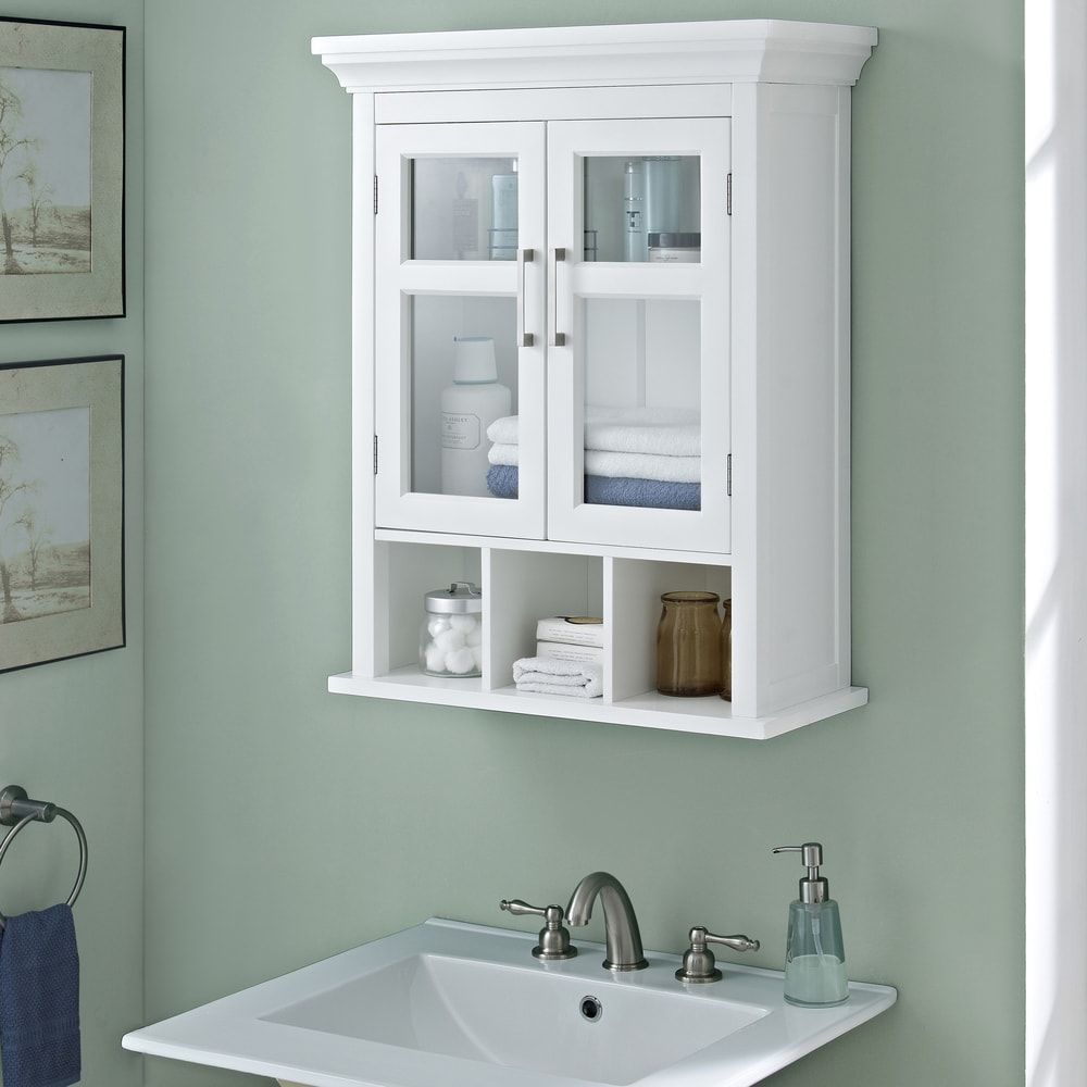 WYNDENHALL Hayes Two Door Bathroom Wall Cabinet with Cubbies in ...