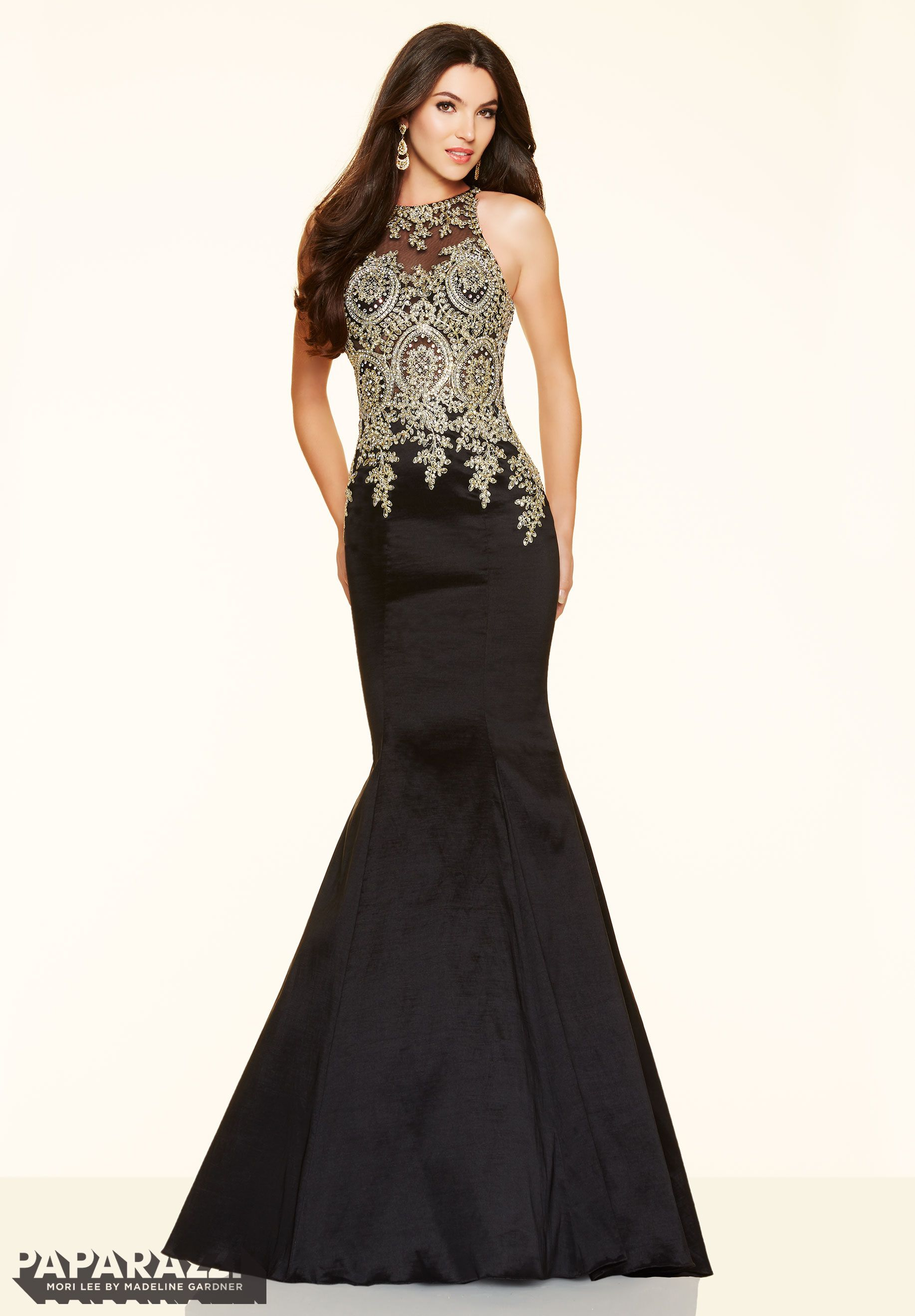 Stretch taffeta prom dress with beaded and embroidered net bodice