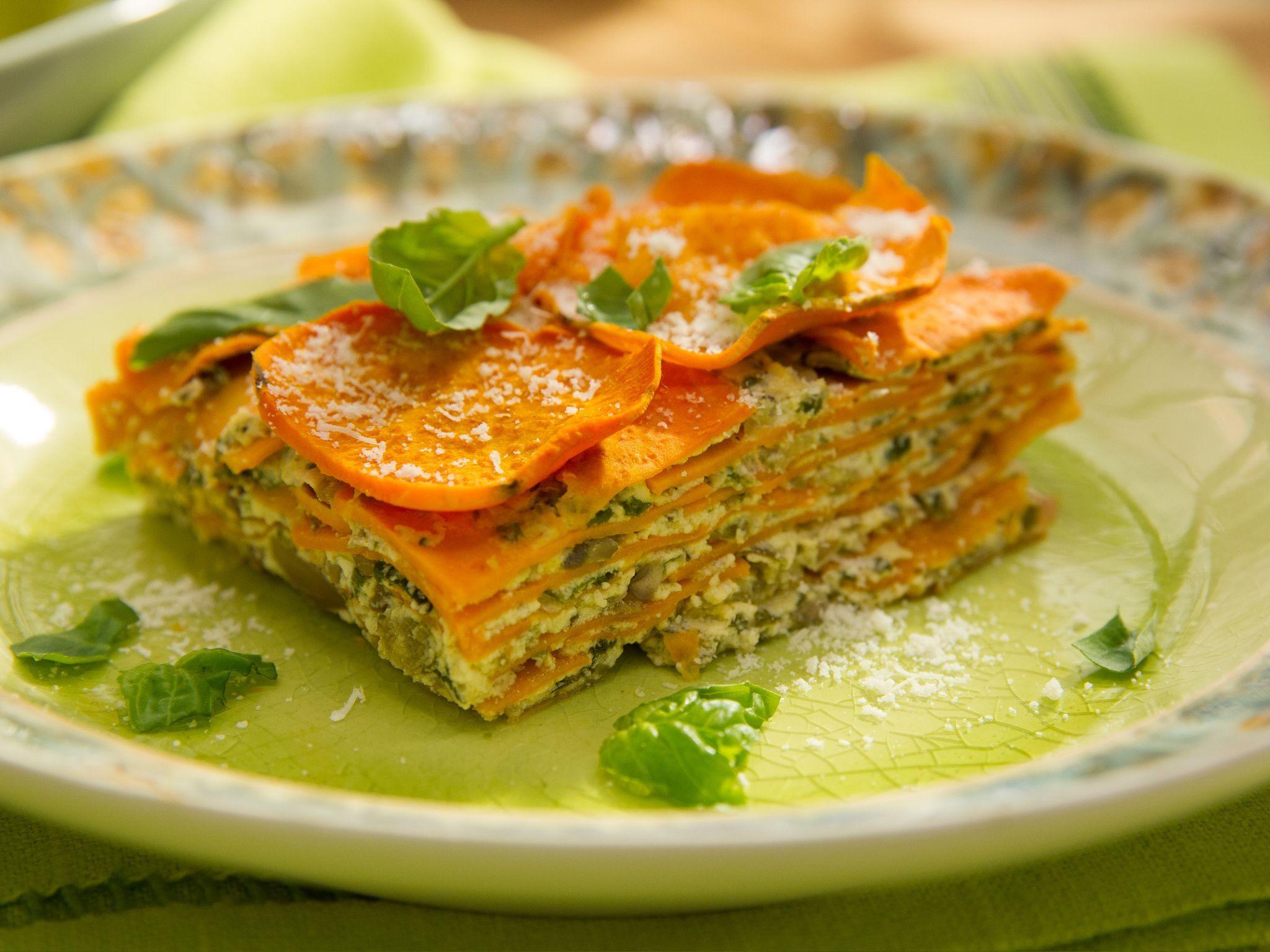 Sweet Potato And Mushroom Lasagna Recipe Food Network Recipes Mushroom Lasagna Recipe Recipes