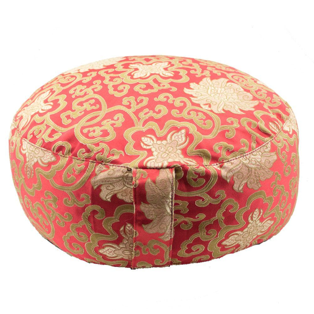 Deluxe red meditation cushion zafu pillow with lotus brocade round