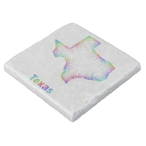 Rainbow Texas map Stone Coaster $11.00