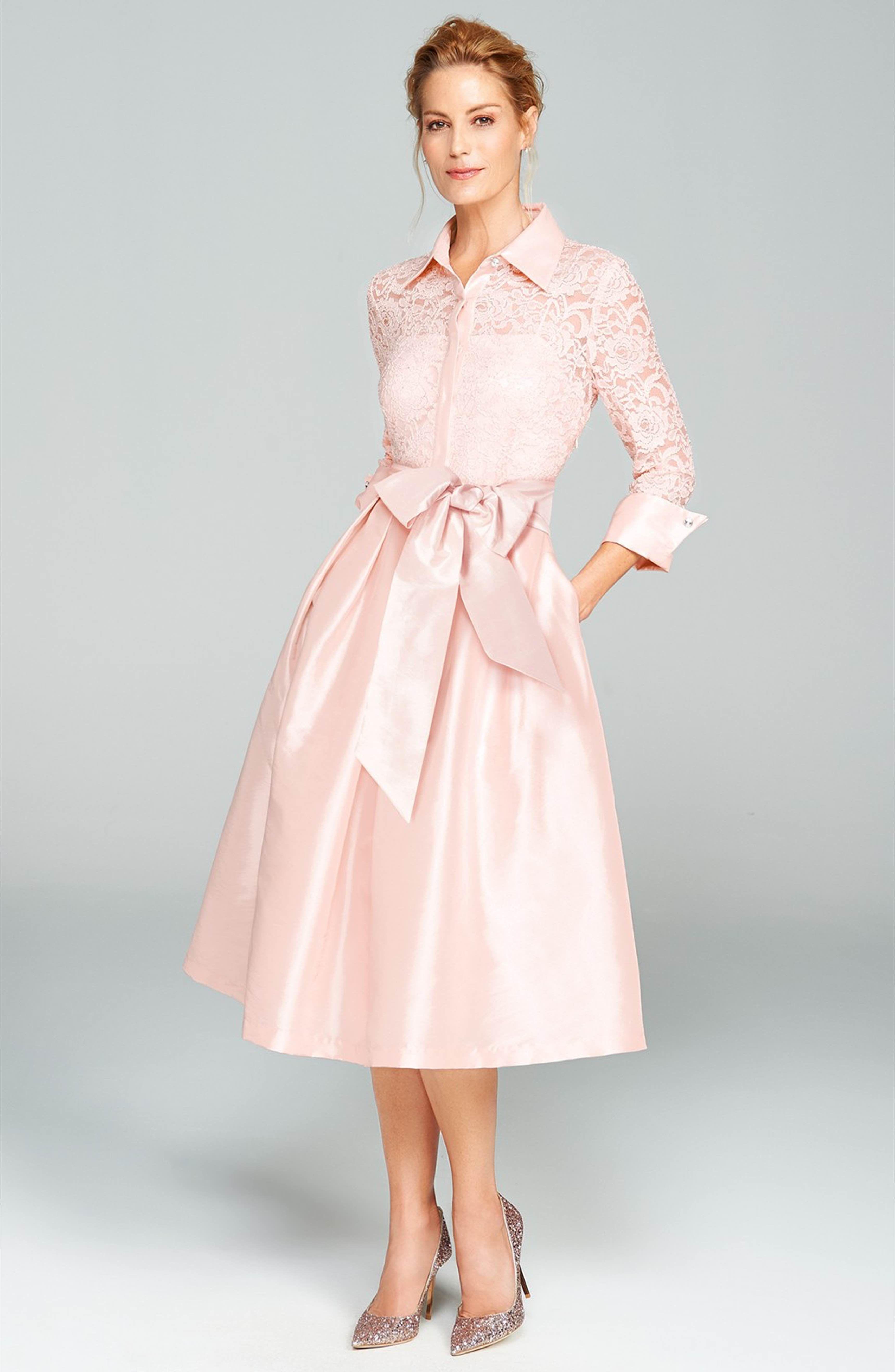 Eliza j belted lace taffeta point collar midi dress