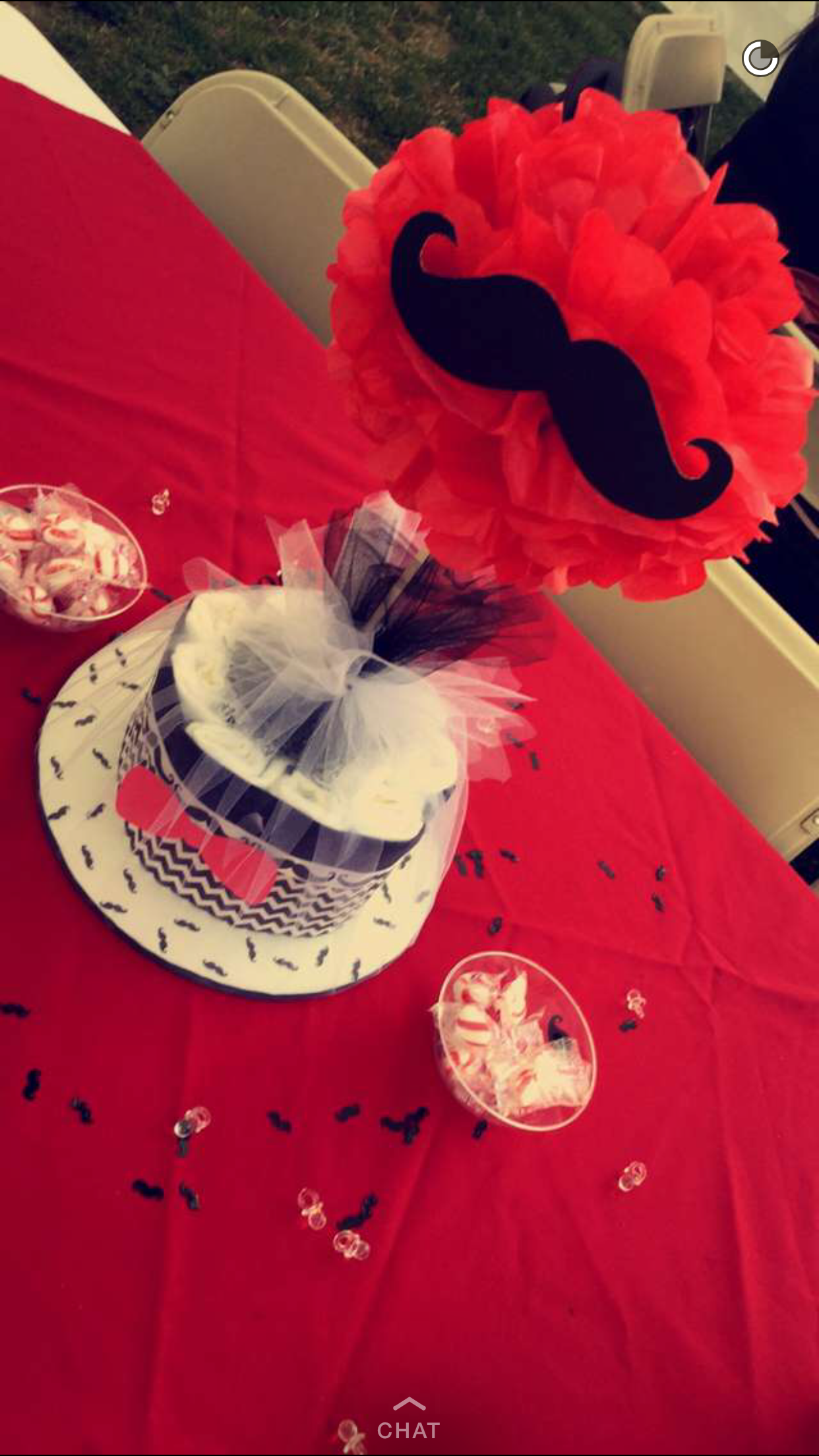 Black Red And White Mustache Baby Shower Diaper Cake Centerpieces