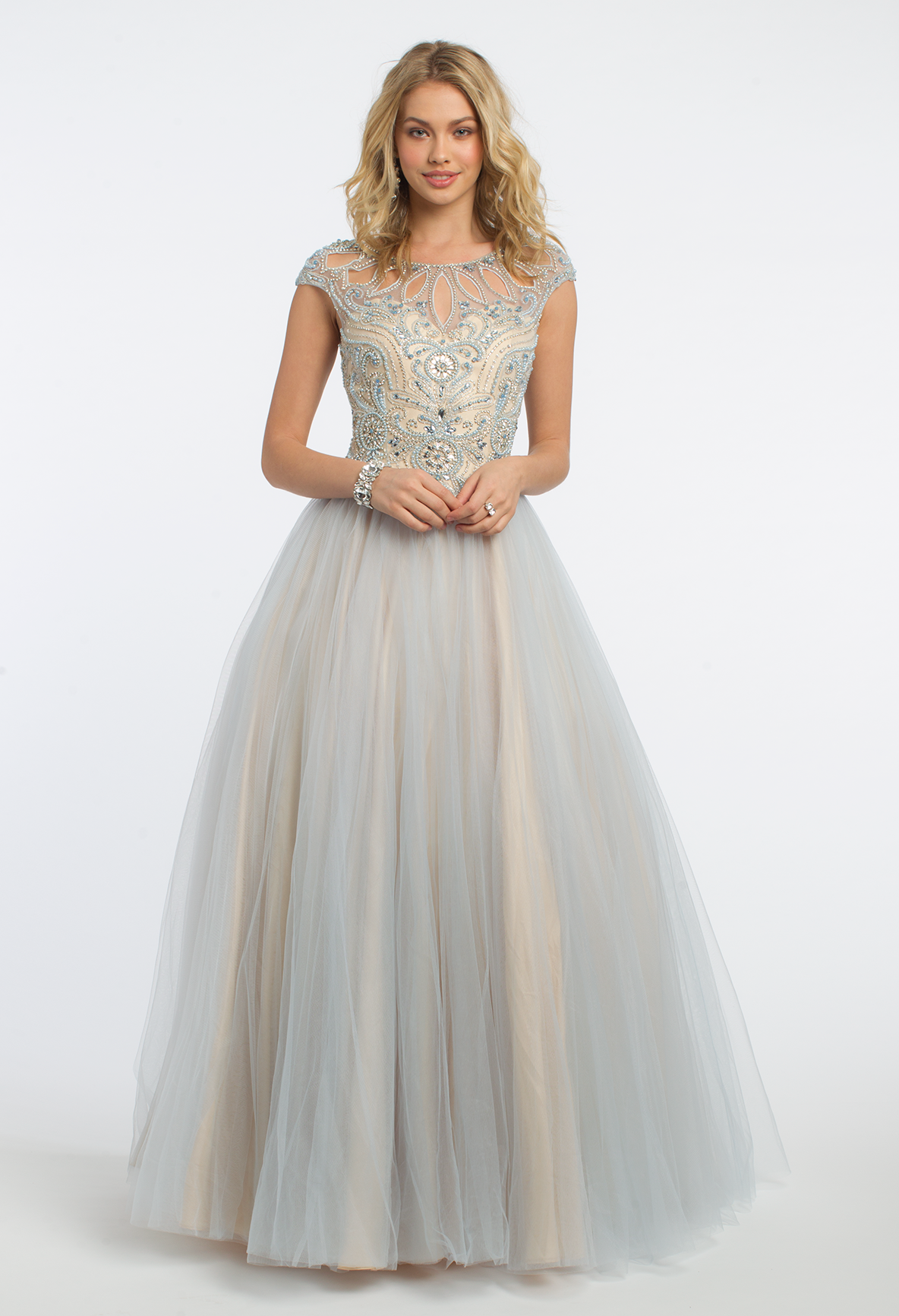 Beaded Cap Sleeve Two-Tone Tulle Ballgown Dress | Stunning prom ...