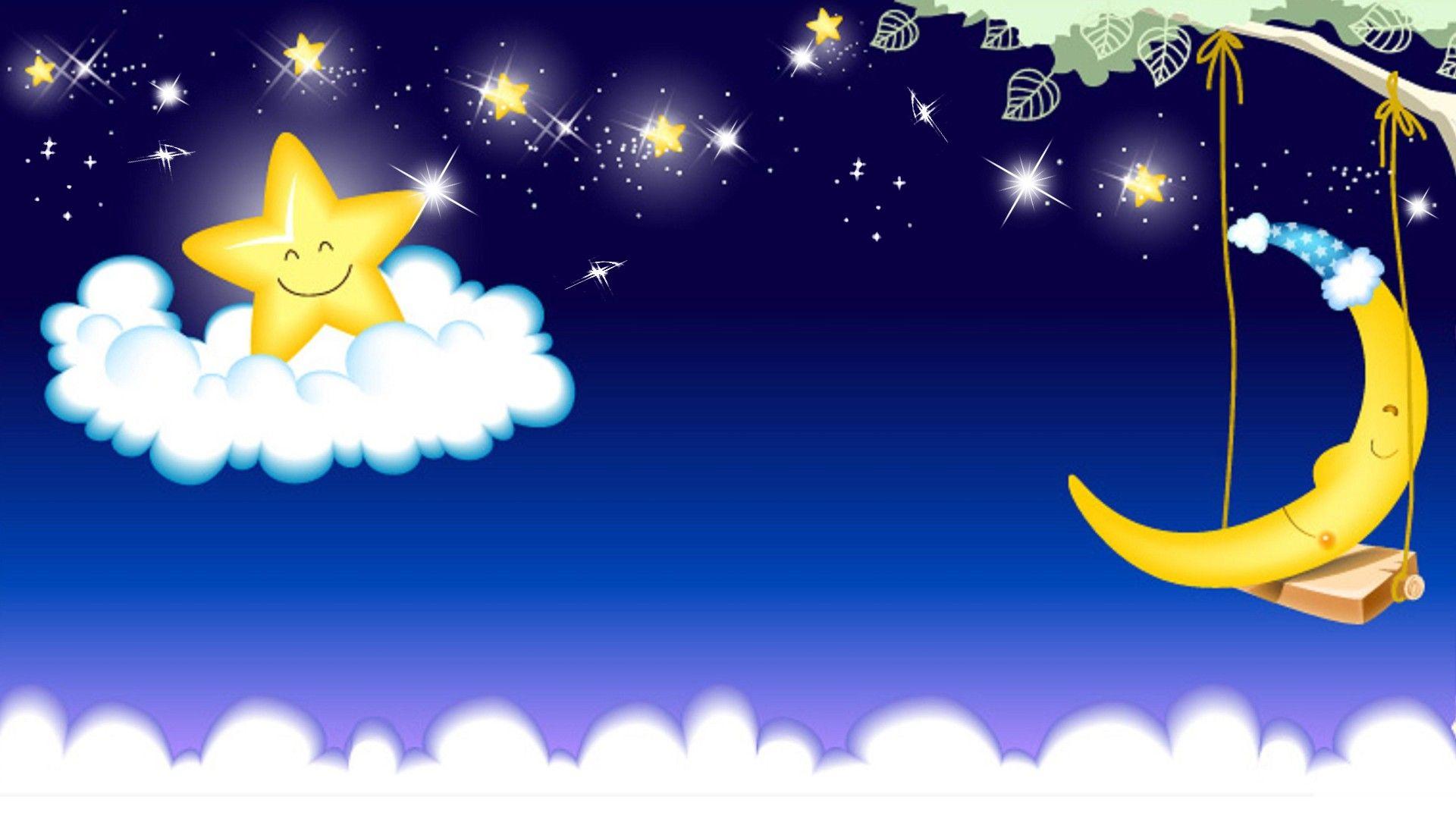 Cartoon Stars In The Sky Cartoon Children Clouds Cute Firefox Persona Sky Stars Trees Good Night Moon Star Cartoon Images Stars And Moon