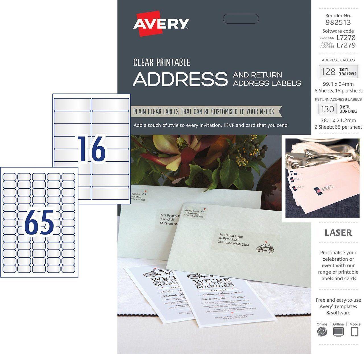 Avery Clear Address & Return Address Kit, L7278 L7279, 128