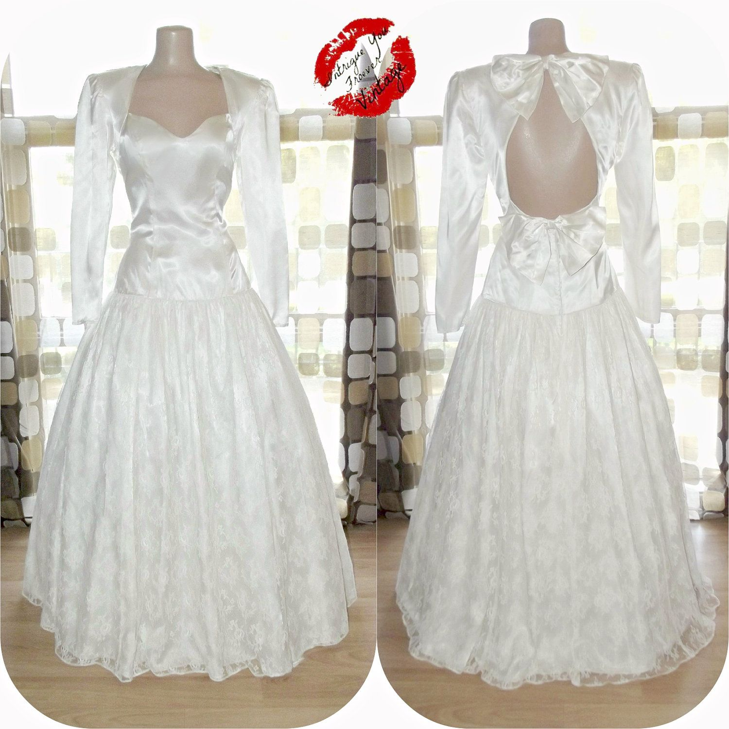 Vintage s ball gown s wedding dress white lace prom dress
