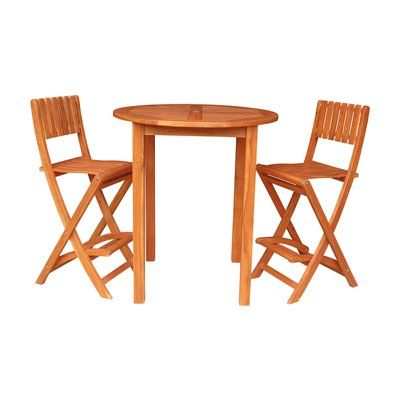 International Concepts K 53926 928 2 Round Bar Table With Two Folding Stools
