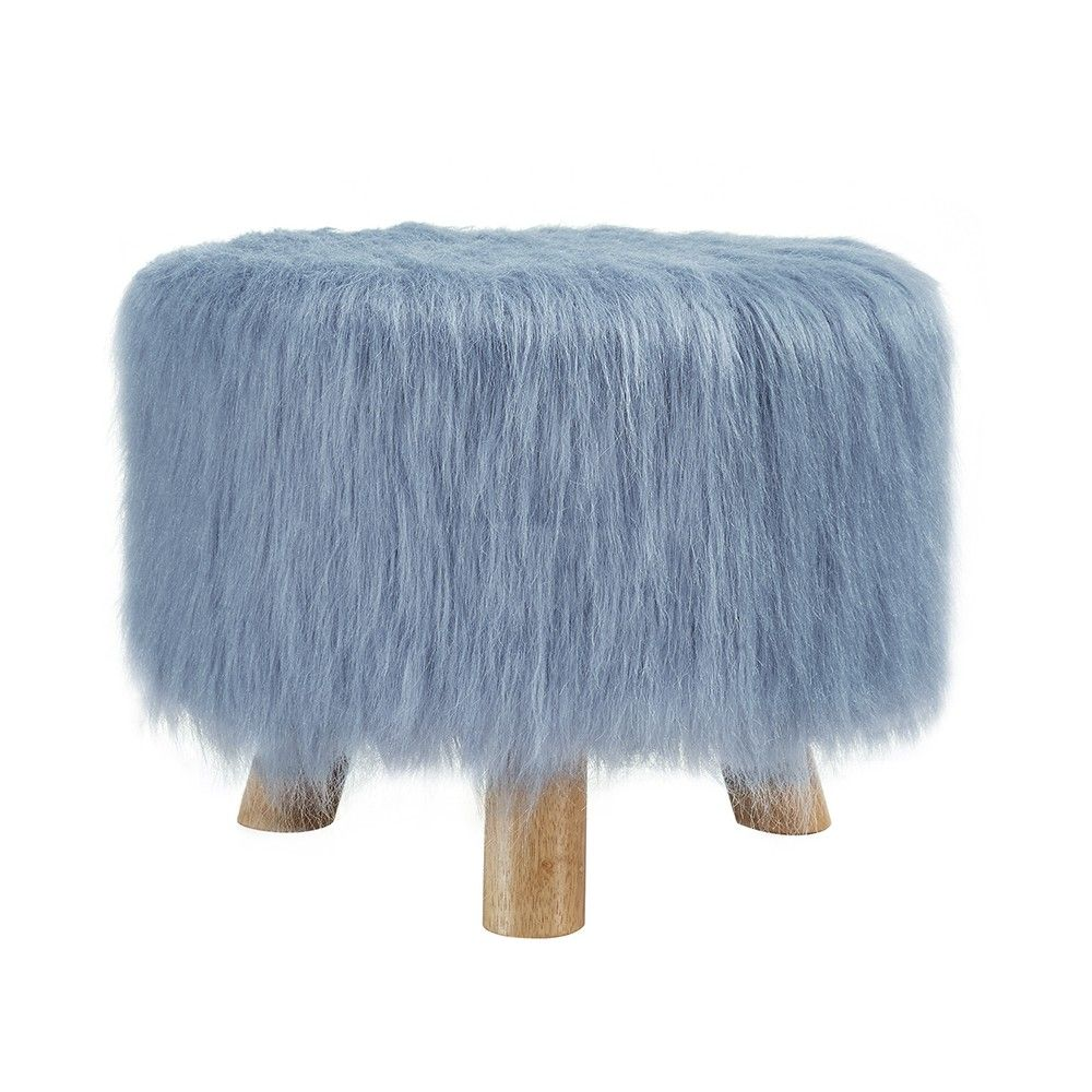 Marvelous Faux Flokati Stool Blue Linon Home Decor Products Faux Pabps2019 Chair Design Images Pabps2019Com