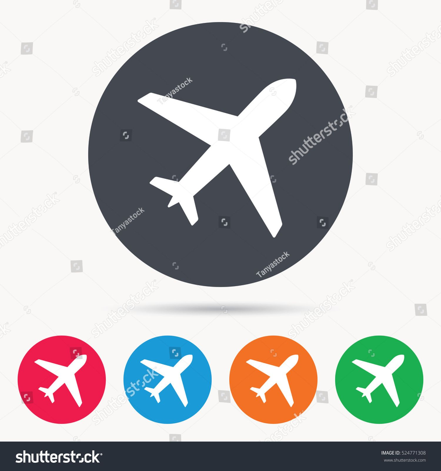 Plane Icon Flight Transport Symbol Colored Circle Buttons With Flat Web Icon Vector Transport Symbol Flight Plane Plane Icon Web Icons Flat Web