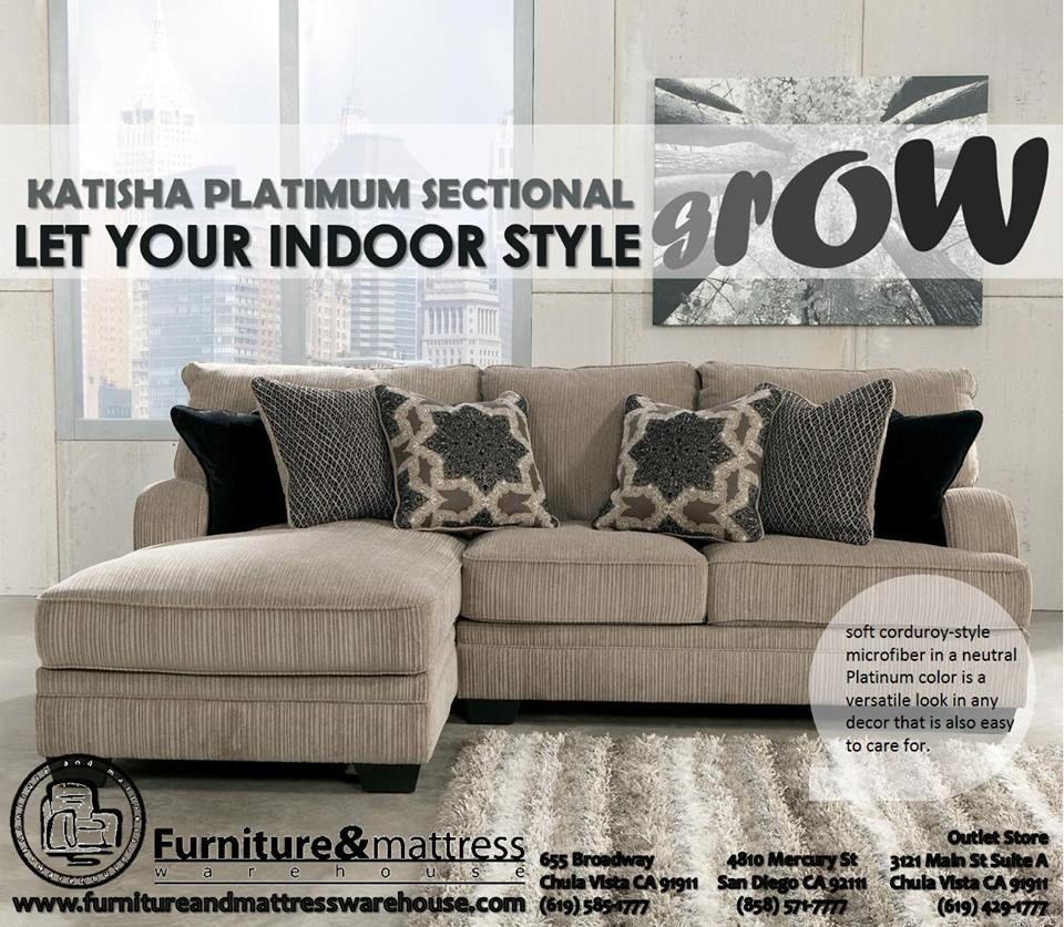 Ashley Katisha Platinum Fabric Sectional Washington House Elegance