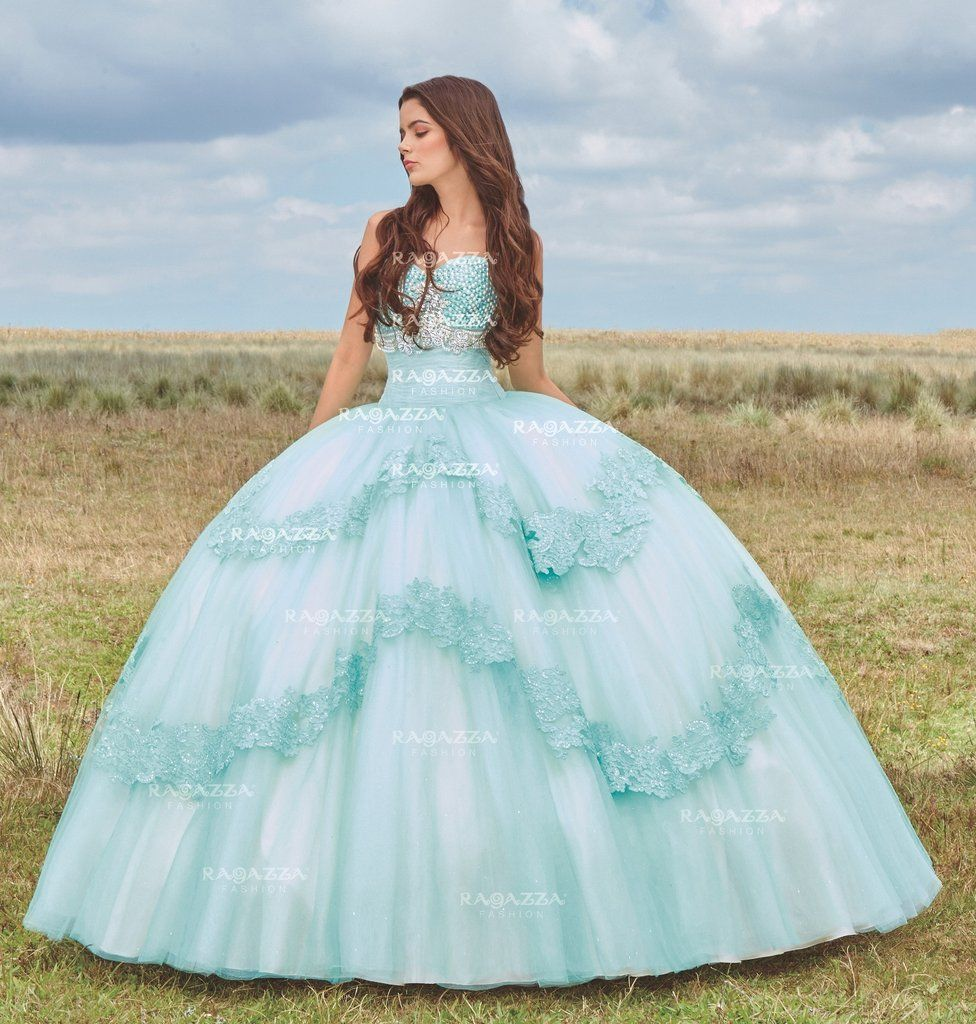 Beaded Strapless Quinceanera Dress by Ragazza Fashion Style V76-376 ...