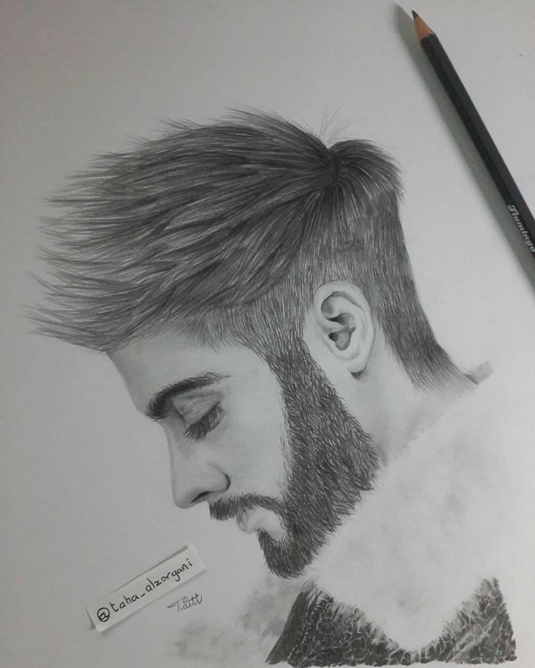 Zain malik portrait by taha alzorgani zain zain malik portrait art pencil draw كلنا رسامين