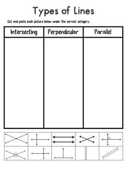 math worksheet : types of lines sort  students third and math : Parallel Intersecting And Perpendicular Lines