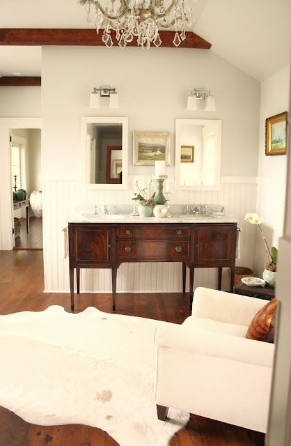 tung oil sealed hardwood floors and the white cowhide (Ikea)