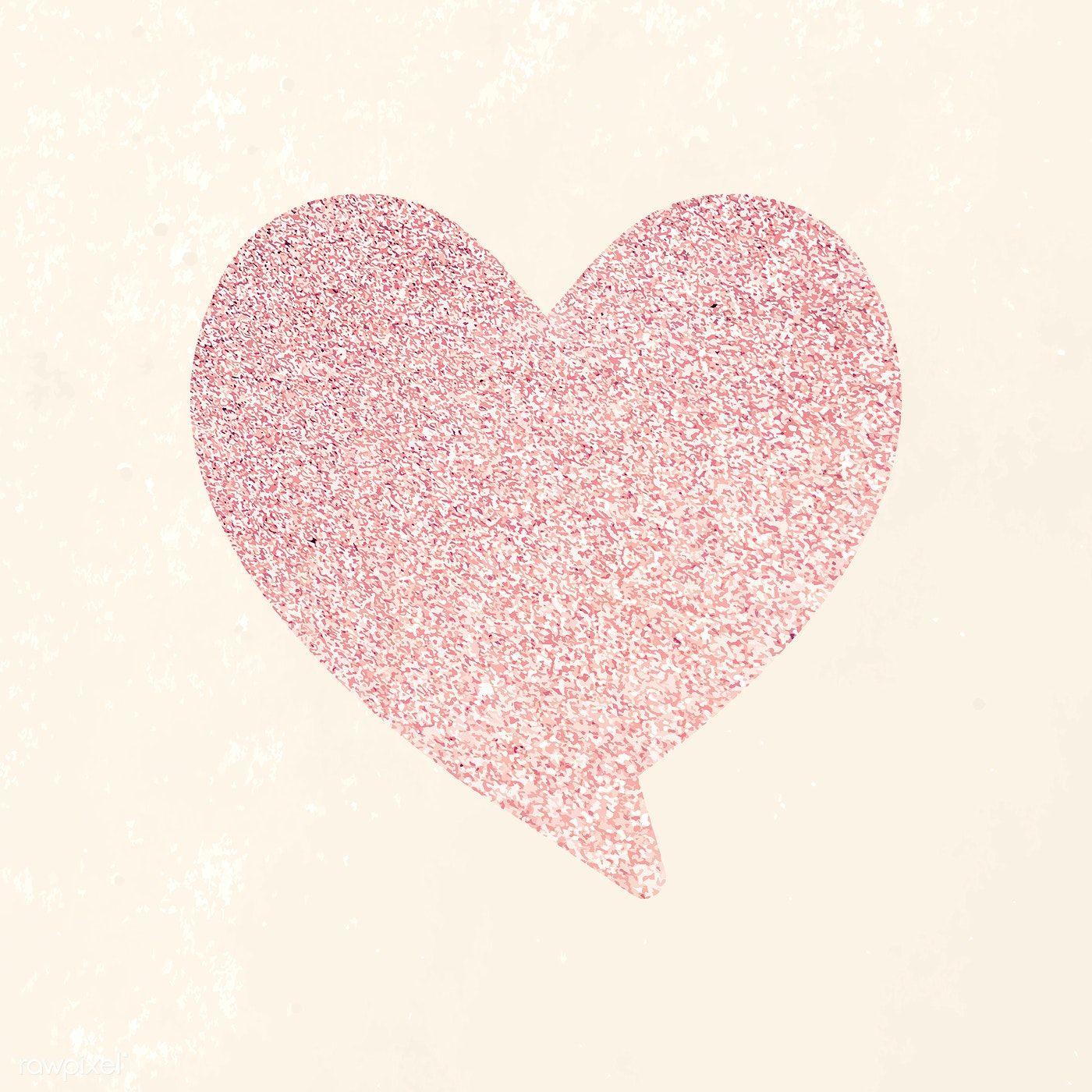 Glitter heart shape speech bubble illustration free
