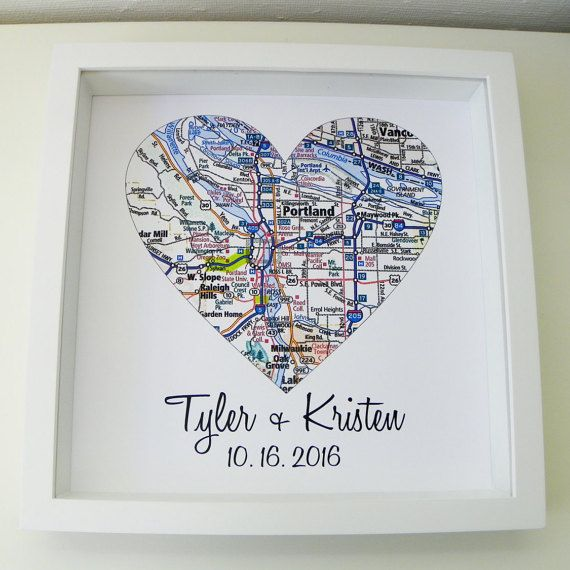 First Anniversary Gift Paper Gift Map Heart Art Framed Any Location