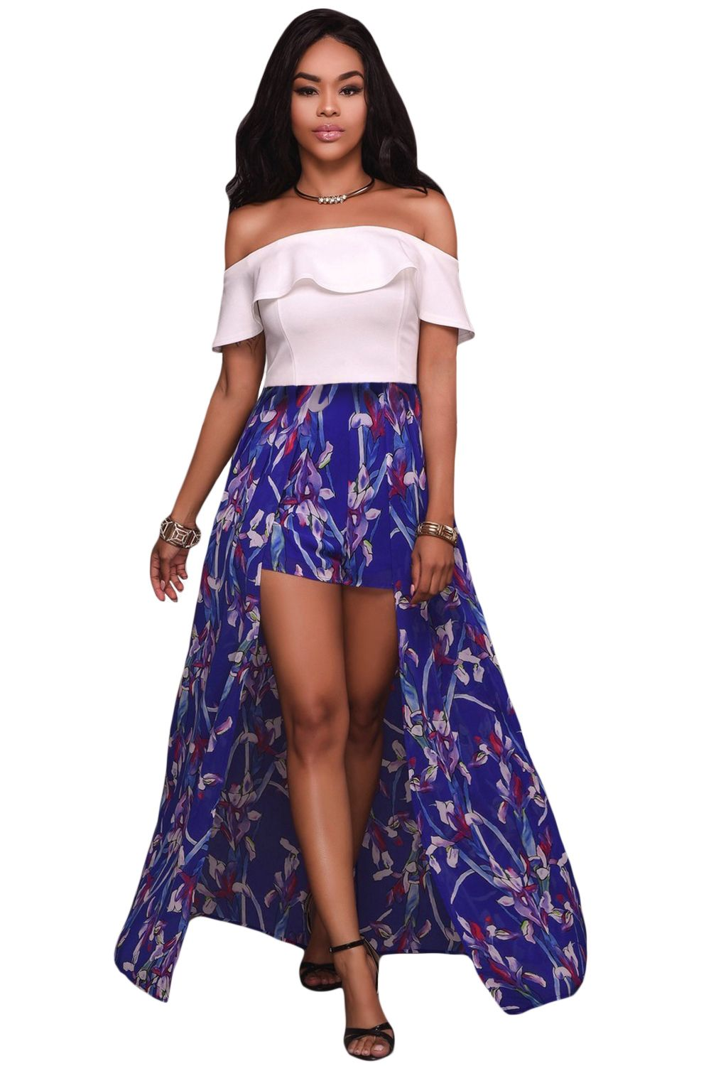 7d439a8a88e2c White Ruffle Off Shoulder and Floral Maxi Romper
