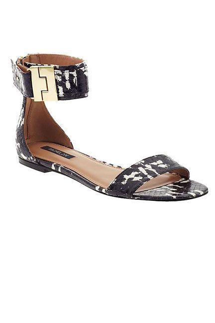 a57ddc1af Black   White Trend  flat ankle-strap sandal