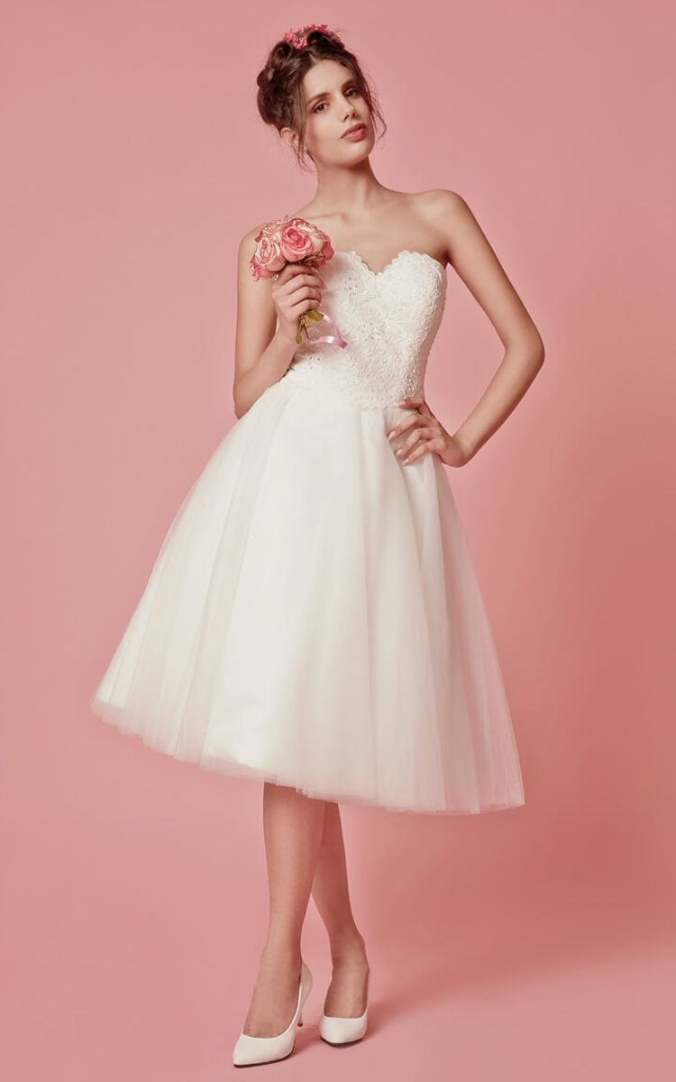 Cap sleeved aline knee length wedding dress with jacket lace