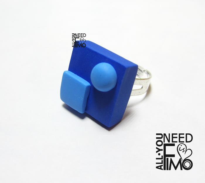 Fimo Geometric Blue Ring Fimo Anello Quadrato Fattoamano Artigianato Polymerclay Ring Square Polymer Clay Ring Geometric Jewelry Handmade Polymer Clay