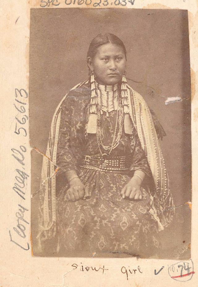Portrait of Native American Teen Girls Before 1900.