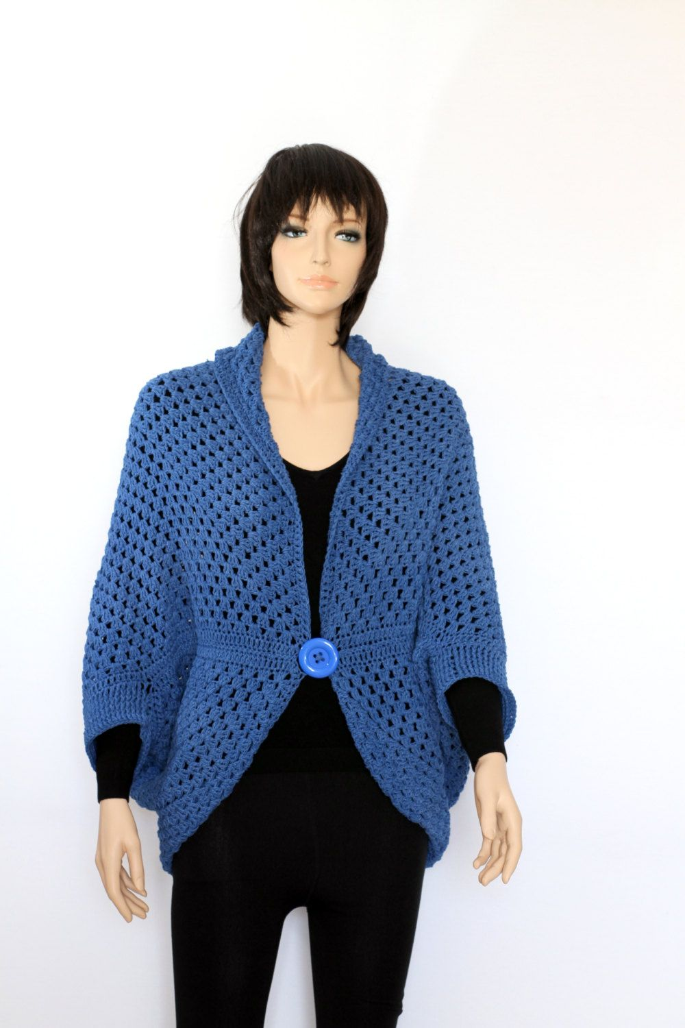 Blue Vest Sweater, Cocoon shrug, Hand Knit blue Shrug, Blue navy ...
