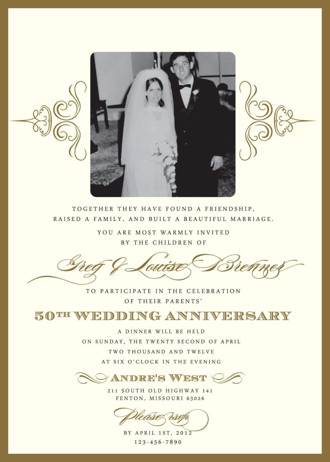 Find New Design 20 50th Anniversary Invitation Wording With