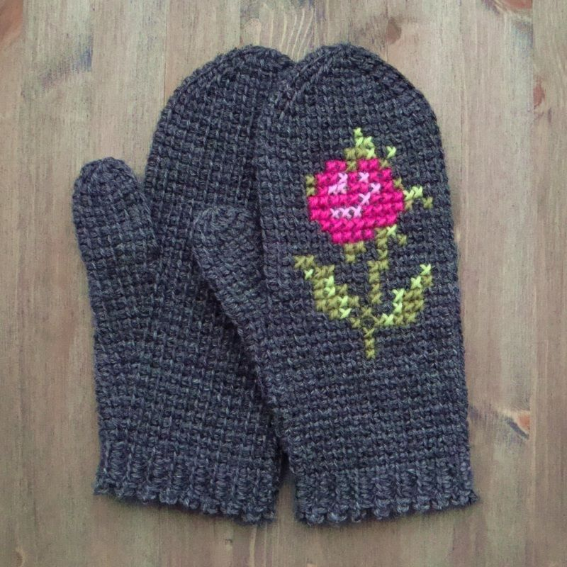 tunisian crochet mittens with cross stitch embroidery ...