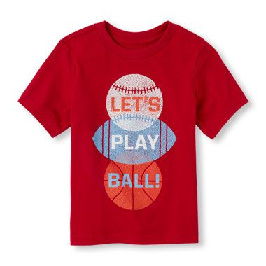Toddler Boys Short Sleeve 'Let's Play Ball' Sport Balls Graphic Tee