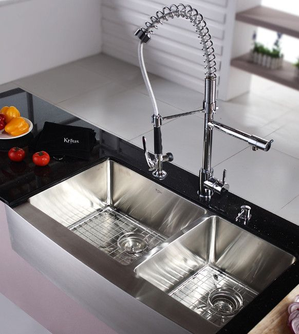 Kraus Kitchen Combo Sink Faucet Combination Satin Finish