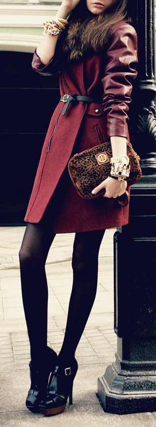 Best Fall fashion Tips- Layer burgundy overcoat on top of opaque tights with leather boots. Add a fur collar and a leopard print purse for some added sass.
