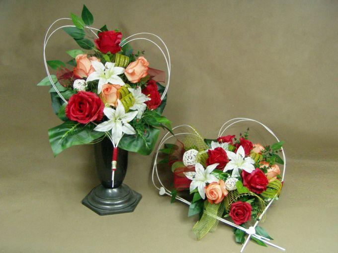 LILIE białe RÓŻE czerwone i pomarańczowe SERCE 662.43 stroik na grób + BUKIET KOMPLET Kompozycje kwiatowe Marko604