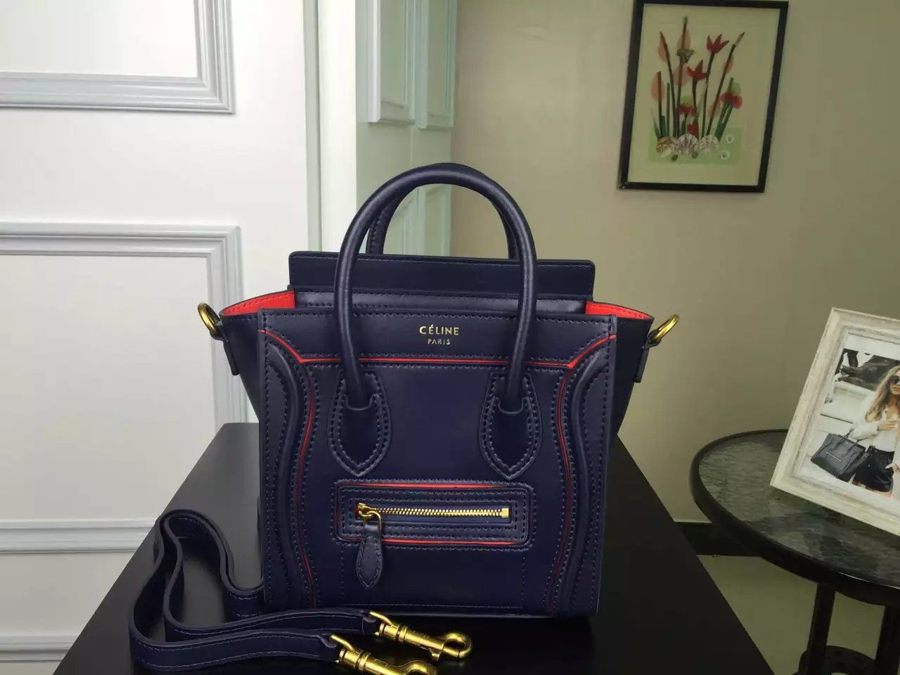 New Arrival Summer2016 Celine Bags Outlet-Celine Nano Luggage Handbag with  Red Interstice in Black Smooth Calfskin 90edc852d7aea