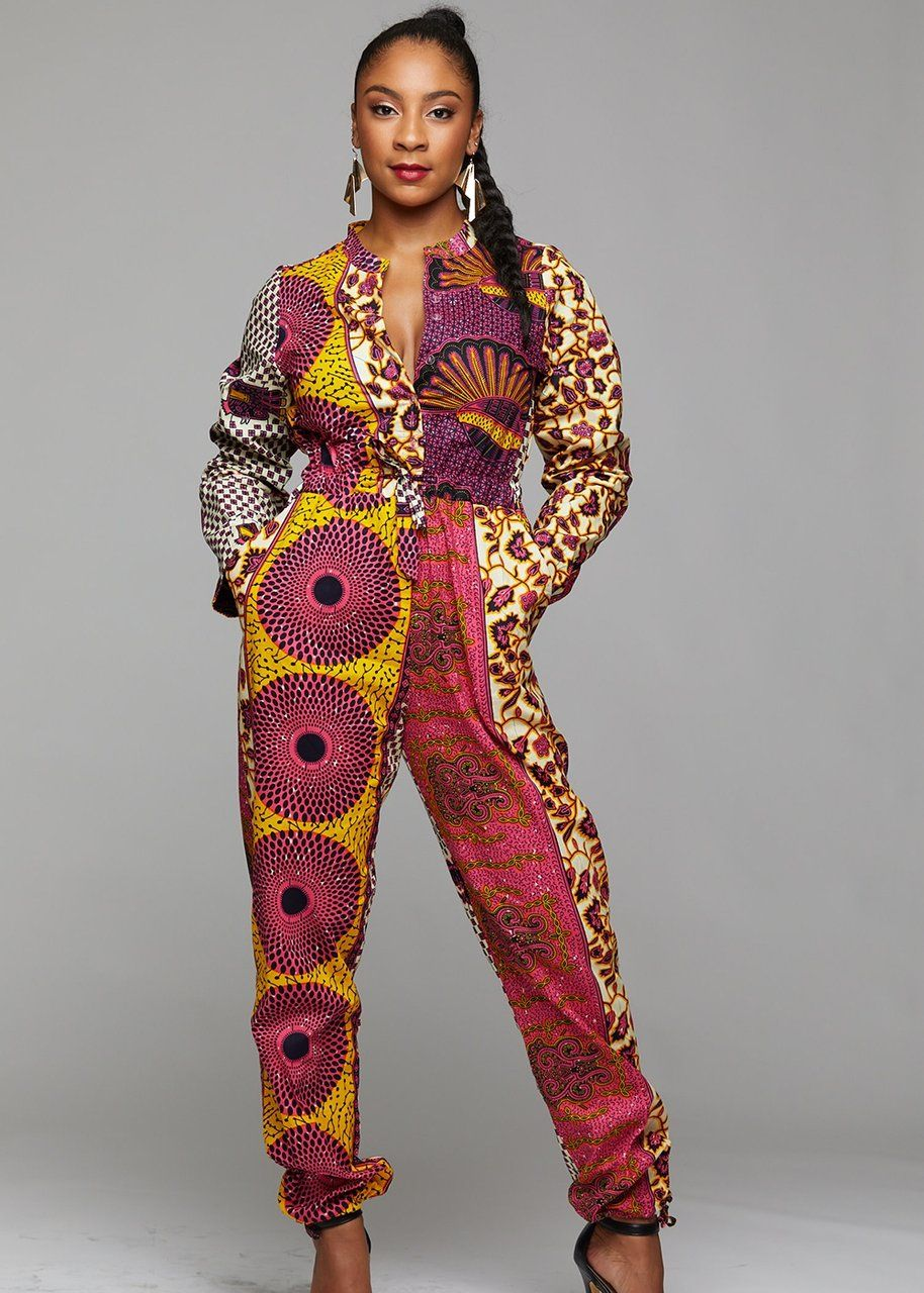 687958754f4 Bottoms - Eniola African Print Button-Up Jumpsuit (Pink Yellow Patchwork)