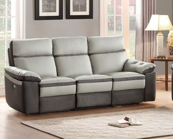 Homelegance Otto Two Tone Power Double Reclining Leather Sofa In Light Grey