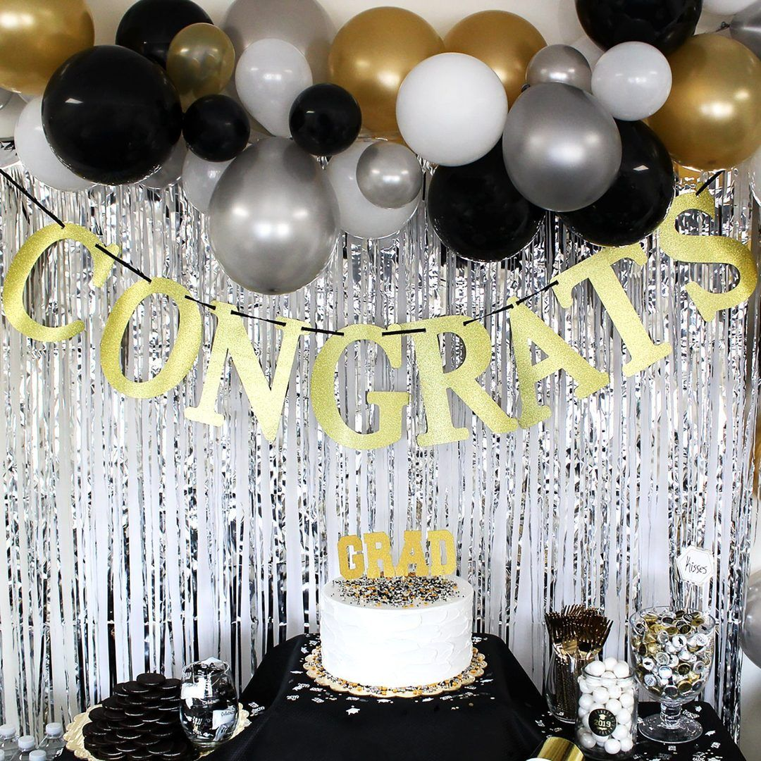 Congrats Gold Glitter Banner Sign