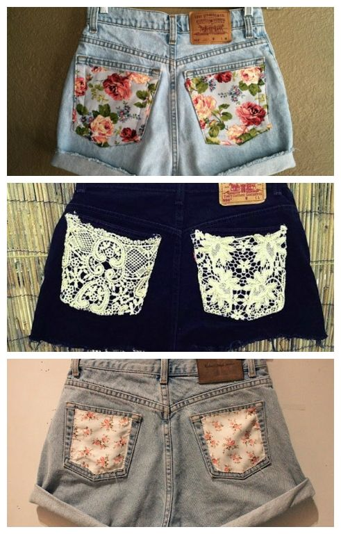 d34cc2dc032314 Add pretty fabrics or a bit of lace to transform a boring pair of shorts!  DIY summer clothes:: DIY projects
