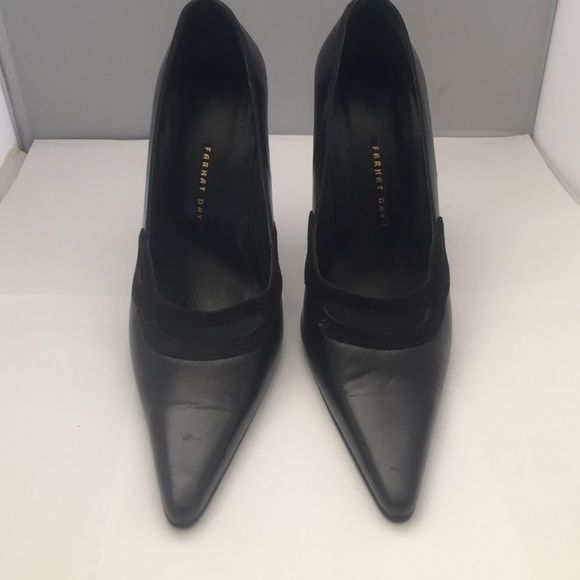 "Excellent condition! Farhat Day Black Leather & Suede Pumps 6.5M With 4.5"" Stiletto Heels. Farhat Day Shoes Heels"