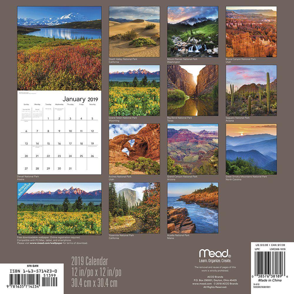 National Parks Wall Calendar (2019) Calendar